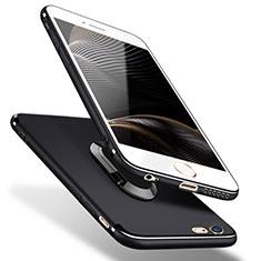 Apple iPhone 5用極薄ソフトケース シリコンケース 耐衝撃 全面保護 アンド指輪 A02 アップル ブラック