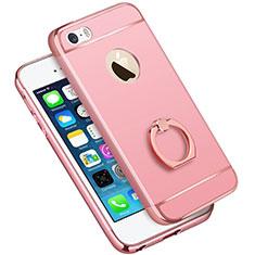 Apple iPhone 5用ケース 高級感 手触り良い メタル兼プラスチック バンパー アンド指輪 A01 アップル ピンク