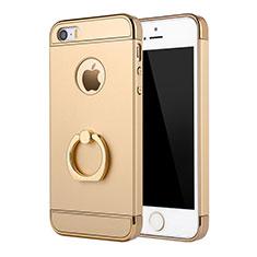 Apple iPhone 5用ケース 高級感 手触り良い メタル兼プラスチック バンパー アンド指輪 A02 アップル ゴールド