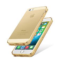 Apple iPhone 5用極薄ソフトケース シリコンケース 耐衝撃 全面保護 クリア透明 カバー HT01 アップル ゴールド