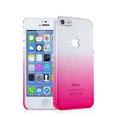 Apple iPhone 5用ハードケース グラデーション 勾配色 クリア透明 アップル ピンク