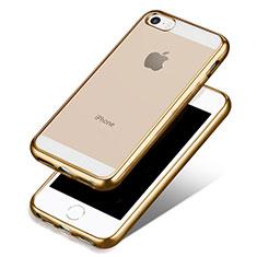 Apple iPhone 5S用極薄ソフトケース シリコンケース 耐衝撃 全面保護 クリア透明 H01 アップル ゴールド