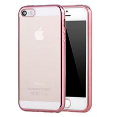 Apple iPhone 5S用極薄ソフトケース シリコンケース 耐衝撃 全面保護 クリア透明 H03 アップル ピンク