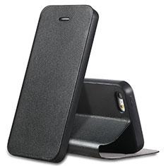 Apple iPhone 5S用手帳型 レザーケース スタンド L01 アップル ブラック