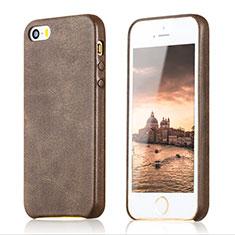 Apple iPhone 5S用ケース 高級感 手触り良いレザー柄 アップル ブラウン