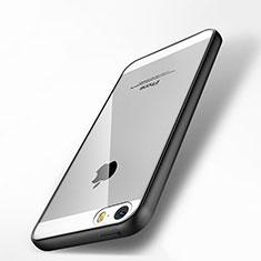 Apple iPhone 5S用ハイブリットバンパーケース クリア透明 プラスチック 鏡面 アップル ブラック