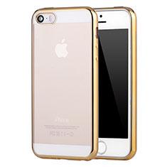 Apple iPhone 5S用極薄ソフトケース シリコンケース 耐衝撃 全面保護 クリア透明 H05 アップル ゴールド