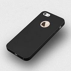 Apple iPhone 5S用シリコンケース ソフトタッチラバー ロゴを表示します アップル ブラック