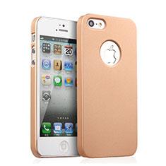 Apple iPhone 5S用ハードケース プラスチック 質感もマット ロゴを表示します アップル ゴールド