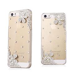 Apple iPhone 5S用ケース ダイヤモンドスワロフスキー 花々 アップル ホワイト