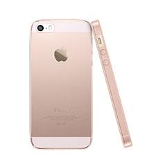 Apple iPhone 5S用極薄ソフトケース シリコンケース 耐衝撃 全面保護 クリア透明 アップル ピンク