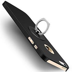 Apple iPhone 5S用ハードケース プラスチック 質感もマット アンド指輪 アップル ブラック