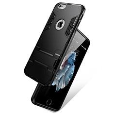 Apple iPhone 6用ハイブリットバンパーケース スタンド プラスチック アップル ブラック