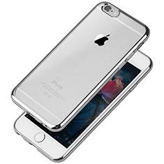 Apple iPhone 6用極薄ソフトケース シリコンケース 耐衝撃 全面保護 クリア透明 T08 アップル シルバー