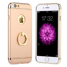 Apple iPhone 6用ケース 高級感 手触り良い メタル兼プラスチック バンパー アンド指輪 A05 アップル ゴールド