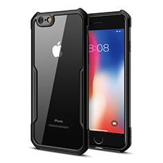 Apple iPhone 6用ハイブリットバンパーケース クリア透明 プラスチック 鏡面 カバー アップル ブラック