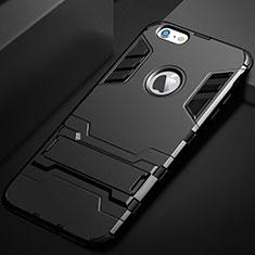 Apple iPhone 6用ハイブリットバンパーケース スタンド プラスチック 兼シリコーン カバー アップル ブラック