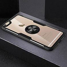 Apple iPhone 6用極薄ソフトケース シリコンケース 耐衝撃 全面保護 クリア透明 アンド指輪 R01 アップル ブラック