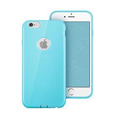 Apple iPhone 6用シリコンケース ソフトタッチラバー ロゴを表示します アップル ブルー