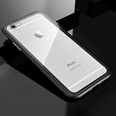 Apple iPhone 6 Plus用ケース 高級感 手触り良い アルミメタル 製の金属製 360度 フルカバーバンパー 鏡面 カバー M01 アップル ブラック