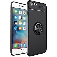 Apple iPhone 6 Plus用極薄ソフトケース シリコンケース 耐衝撃 全面保護 アンド指輪 マグネット式 バンパー アップル ブラック