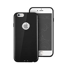 Apple iPhone 6 Plus用シリコンケース ソフトタッチラバー ロゴを表示します アップル ブラック