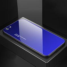 Apple iPhone 6S用ハイブリットバンパーケース プラスチック 鏡面 虹 グラデーション 勾配色 カバー アップル ネイビー