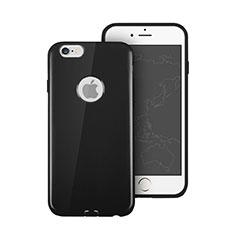 Apple iPhone 6S用シリコンケース ソフトタッチラバー ロゴを表示します アップル ブラック