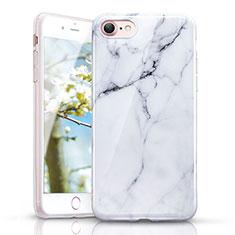 Apple iPhone 7用シリコンケース ソフトタッチラバー 大理石模様 アップル ホワイト