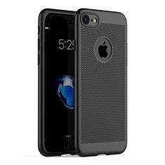 Apple iPhone 7用ハードケース プラスチック メッシュ デザイン アップル ブラック