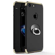 Apple iPhone 7用ケース 高級感 手触り良い メタル兼プラスチック バンパー アンド指輪 アップル ブラック