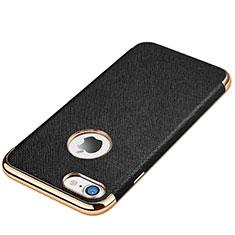 Apple iPhone 7用シリコンケース ソフトタッチラバー レザー柄 アップル ブラック