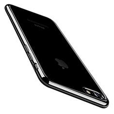 Apple iPhone 7用極薄ソフトケース シリコンケース 耐衝撃 全面保護 クリア透明 C01 アップル ブラック