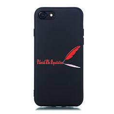 Apple iPhone 7用シリコンケース ソフトタッチラバー バタフライ パターン カバー S01 アップル レッド