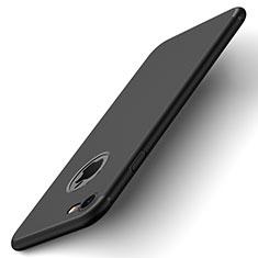 Apple iPhone 7用ハードケース プラスチック 質感もマット ロゴを表示します アップル ブラック