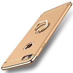 Apple iPhone 8用ケース 高級感 手触り良い メタル兼プラスチック バンパー アンド指輪 A01 アップル ゴールド