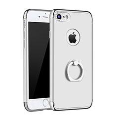 Apple iPhone 8用ケース 高級感 手触り良い メタル兼プラスチック バンパー アンド指輪 A02 アップル シルバー