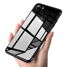 Apple iPhone 8用極薄ソフトケース シリコンケース 耐衝撃 全面保護 クリア透明 T19 アップル ブラック