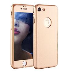 Apple iPhone 8用ハードケース プラスチック 質感もマット 前面と背面 360度 フルカバー P01 アップル ゴールド