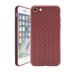 Apple iPhone 8用シリコンケース ソフトタッチラバー レザー柄 S01 アップル ブラウン