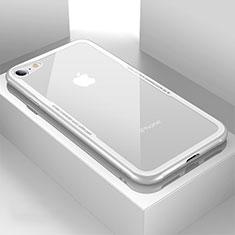 Apple iPhone 8用ハイブリットバンパーケース クリア透明 プラスチック 鏡面 カバー アップル ホワイト