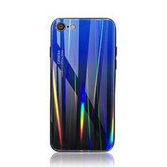 Apple iPhone 8用ハイブリットバンパーケース プラスチック 鏡面 虹 グラデーション 勾配色 カバー アップル ネイビー