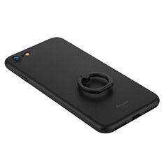 Apple iPhone 8用ハードケース プラスチック 質感もマット アンド指輪 F01 アップル ブラック