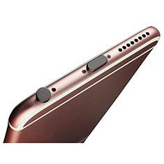 Apple iPhone 8用アンチ ダスト プラグ キャップ ストッパー Lightning USB J02 アップル ブラック