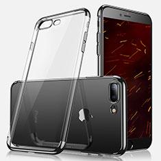 Apple iPhone 8 Plus用極薄ソフトケース シリコンケース 耐衝撃 全面保護 クリア透明 A07 アップル ブラック