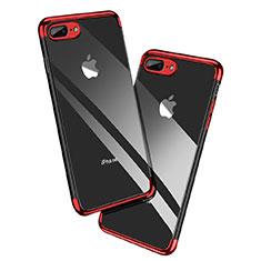 Apple iPhone 8 Plus用極薄ソフトケース シリコンケース 耐衝撃 全面保護 クリア透明 A12 アップル レッド