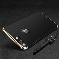 Apple iPhone 8 Plus用ケース 高級感 手触り良い メタル兼プラスチック バンパー アンド指輪 亦 ひも アップル ブラック