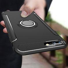 Apple iPhone 8 Plus用ハイブリットバンパーケース プラスチック アンド指輪 兼シリコーン A03 アップル ブラック