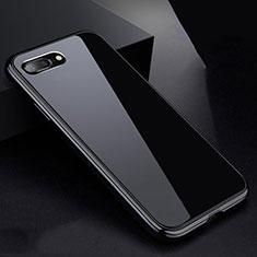 Apple iPhone 8 Plus用ケース 高級感 手触り良い アルミメタル 製の金属製 360度 フルカバーバンパー 鏡面 カバー アップル ブラック
