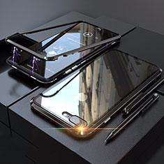 Apple iPhone 8 Plus用ケース 高級感 手触り良い アルミメタル 製の金属製 360度 フルカバーバンパー 鏡面 カバー M01 アップル ブラック